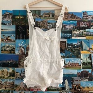 Free people white denim overalls